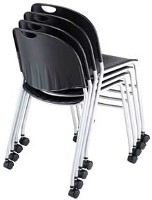 stacking chair with casters